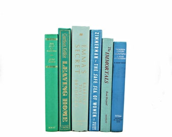 Sea Green BLue BOoks, Turquoise Rustic Decorative Books, Wedding Centerpiece, Aqua Book Decor, Old Book Set, Mint BOok Collection