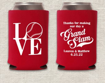 Grand Slam - Baseball Love Wedding Can Coolers