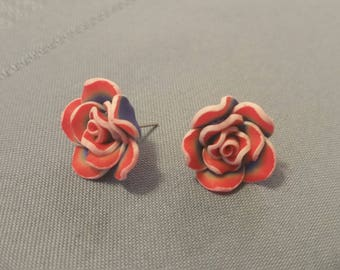 Red, White, and Blue Flower Post Earrings