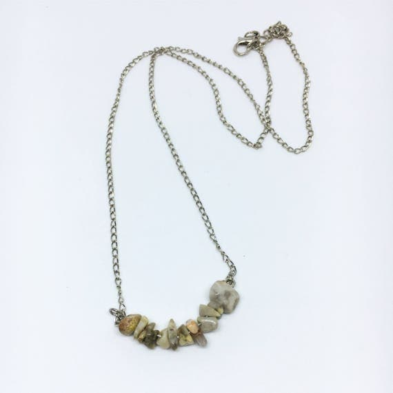 Stone Beaded Necklace on a Silver Chain — U-Shaped Crazy Lace Agate