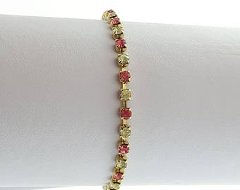 Vintage Tennis Bracelet - BR006 - Simulated Diamond and Pink Sapphire