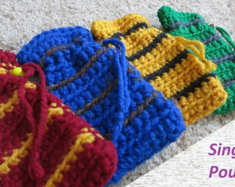 Hogwarts Houses Crochet Pouch (Individual)