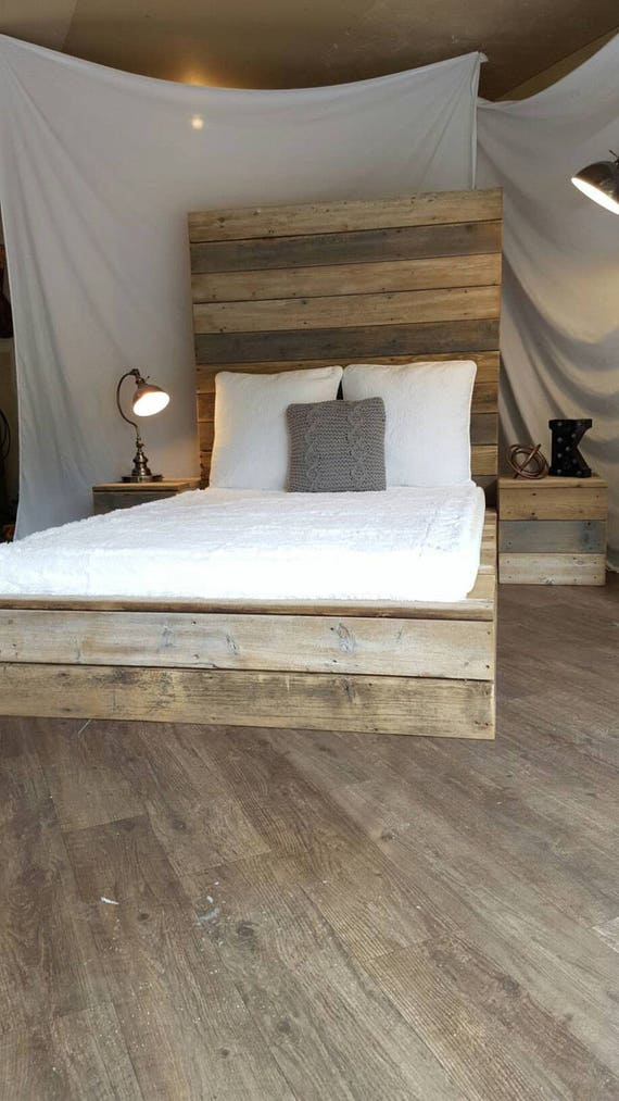 Modern industrial rustic minimalist reclaimed recycled wood plank platform bed, grey, white, natural