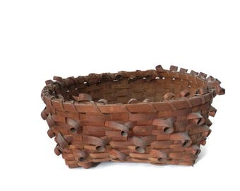 Canadian Indian Basket Woven Split with Curled Curly Wood Decorations Penobscot Woodland Mohawk