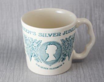 Pale Blue and White 1977 Queen Elizabeth II Silver Jubilee Mug Commemorative Mason's Ironstone Brand