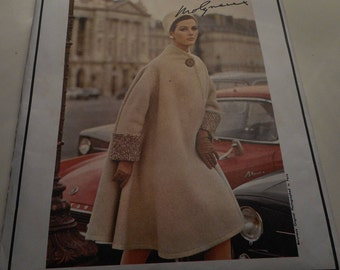 Vintage 1960's Vogue 1579 Paris Original Molyneux Two-Piece Dress and Coat Sewing Pattern, Size 12 Bust 32