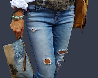 Denim bag, Wristlet, Wristlet wallet, Bag Iphone,  Wristlet Purse, Leather Denim Clutch, Denim Wristlet ,Leather Wristlet, Denim Leather Bag