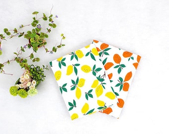 """Lemons Cotton Knit Fabric - Yellow or Orange - 59"""" Wide - By the Yard - 95134-01"""