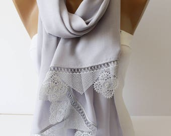 NEW Light Lilac Lace Scarf Shawl Scarf Lace Scarf Winter Spring Christmas gift Fashion Women Accessories ForHer  DIDUCI