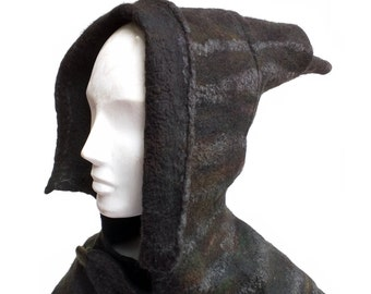 Black Hooded Cowl made of Soft Merino Wool -  Felted Capelet for Halloween Witch Costume or Ren Faire Hood - LARP SCA Costume