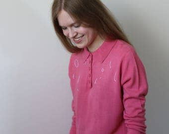 hand embroidered vintage pink sweater