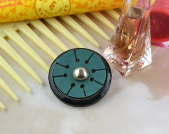 Black and Turquoise - Circular Vintage Bakelite - Retro Button Brooch - Upcycled - Repurposed - Sustainable - Eco Friendly Jewellery