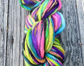 Handspun Yarn, Thick and Thin, Art Yarn, Wool,  Merino, Bulky, Single Ply, Slub, Boogaloo
