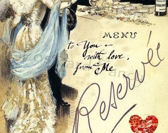 VALENTINE Dinner Vintage Illustration, Instant DIGITAL Download, Printable Card for Your Love