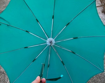 Vintage Turquoise Rain Umbrella with Leather Curved Handle, Hand Stiched