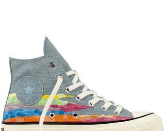Converse 70s Mara Hoffman Gray Rainbow Sunset High Top Collector quilted knit w/ Swarovski Crystal Rhinestone Chuck Taylor All Star Shoes