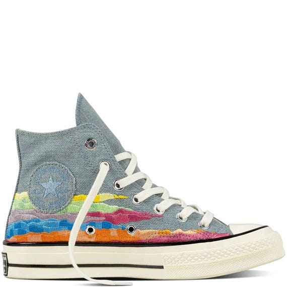 Converse 70s Mara Hoffman Gray Rainbow High Top Collector quilted knit w/ Swarovski Crystal Rhinestone Chuck Taylor All Star Sneaker Shoe