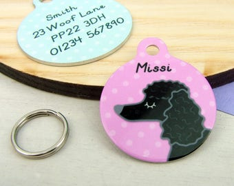 Poodle Dog ID Name Tag Personalised