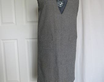 Houndstooth 1980s Boxy Jumper Dress