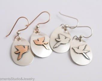 Mountain Bluebird Earrings, Fused Argentium Silver Birds in Flight Earrings