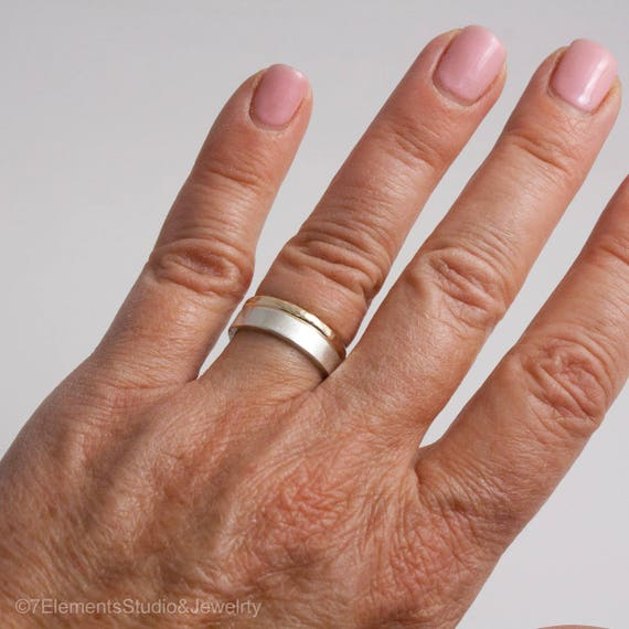 3mm Satin Silver and Hammered Gold Ring Set