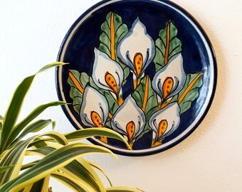 Vintage Handpainted Art Plate Mexican Peace Lily Wall Hanging Decor