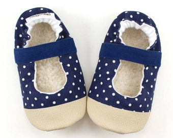 navy blue mary janes baby girl shoes polka dot booties elastic baby shoes nautical shoes for girl rubber sole vegan baby shoes fabric
