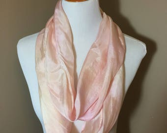 Hand dyed peach and pink narrow infinity scarf -