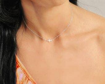 Choker Necklace, Tiny Cross Necklace, Silver Cross Necklace, Gold Cross Necklace, Gold Choker Necklace, Sideways Cross Necklace