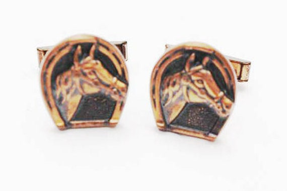 Horse cuff links - Copper Horse shoe and horse head - signed Pat Pend - vintage cufflinks
