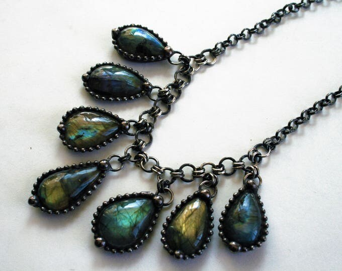 Labradorite Crystal Drop Fan Bib Necklace