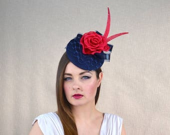 Navy Blue Pillbox Hat with Veil and Red Silk Abaca Rose  - Blue and Red Fascinator - Mother of the Bride Hat - Wedding, Ascot, races hat