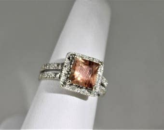 Oregon Sunstone 14k white gold diamond ring
