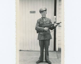 """Vintage Photo Snapshot: """"Do Not Stack Rifles Against Building"""" c1940s (76586)"""