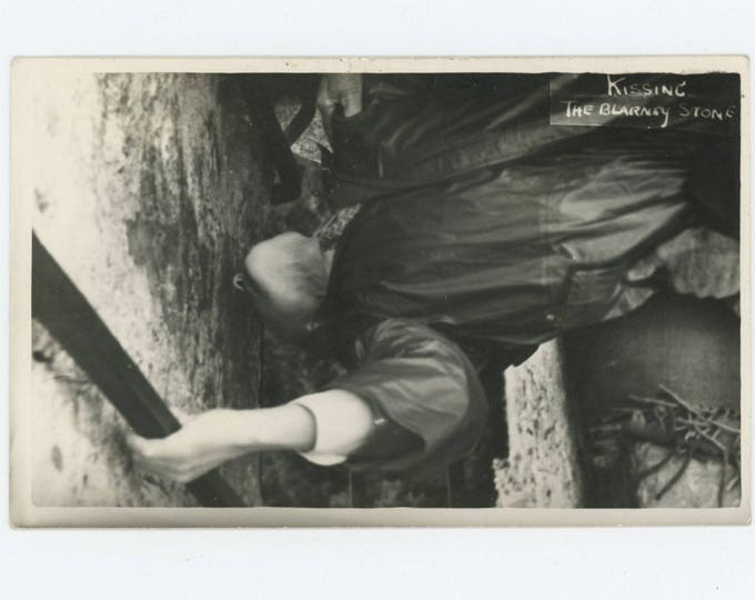 Kissing the Blarney Stone: Vintage Snapshot Photo (76585)