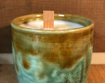 Ceramic Soy Wood Wick Candle