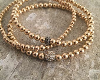 Set of three 14k gold filled bracelet with pve diamond rondelle and Cz bead, stack bracelets; gold layering bracelet