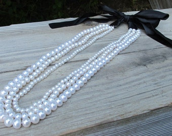 Long Pearl Bib Necklace Genuine Real Natural 3 Strand Layered Pearl Statement Necklace Graduated