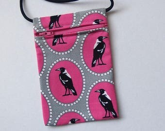 """Pouch Zip Bag MAGPIE birds Pink Fabric. great for walkers, markets, travel.  Cell Phone Pouch. Small fabric purse. Multiple uses. 6.5x4.25"""""""