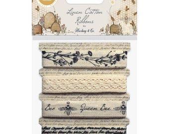 COTTON RIBBON, Bee Trim, Bee Ribbon, Natural Cotton Trim, Natural Linen Ribbon, Natural Linen Trim, Bee Print Ribbon, Hackney & Co Tell Bees