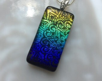 Dichroic Glass Mandala Pendant, Fused Glass Jewelry, Rainbow Mandala Necklace