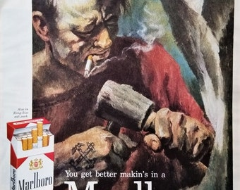 Sculptor Folkish Cigarette Smoke In Eyes Marlboro Synergy Hard Scrabble Character Navy Man Passion Perfection 13x10 Ready for Frame