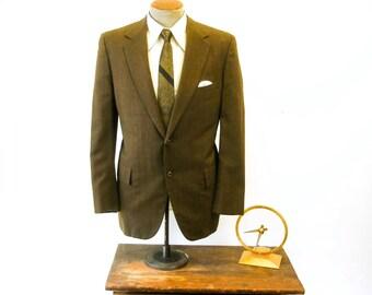 Mad Men Era MOD Mens Brown Textured Vintage Suit Jacket / Sport Coat / Blazer with Blue Stripes by Hart Schaffner & Marx - Size 42 (LARGE)
