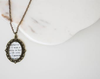 Eponine and Marius Les Miserables Victor Hugo Antiqued Bronze Book Page Necklace