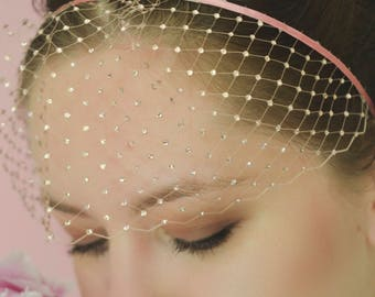 Birdcage Veil - Pink Veil Headband - Pink Fascinator - Bridal Headpiece - Swarovski Headband - Crystal Headband - Blush Pink Headband