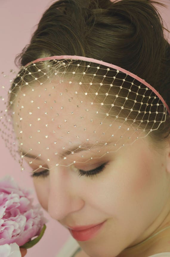 Birdcage Veil - Pink Veil Headband
