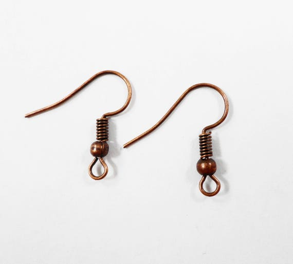 Copper Earring Wires 19mm Antique Copper Earring Hooks, Fishhook Ear Wires, French Hook Earring Parts, Ear Wires, Copper Earwires, 40pcs