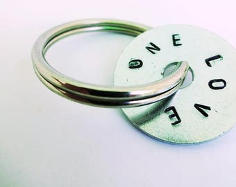 Love quote keychain,hand stamped washer,silver keyring, groom gift,one love,boyfriend gift,silver anniversary gift,wedding favour,quote gift