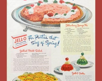 Jello Vintage Ad - 1950 Vintage Food Advertising for Kitchen Wall Art