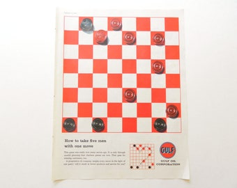 Checker Game Gulf Oil Ad for Games-Themed Vintage Wall Art